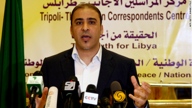 Moussa Ibrahim speaks at a press conference in Tripoli, Libya, in 2011.