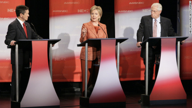 Sen. Clinton addresses a question during the the Democratic Presidential Candidates Debate at Dartmouth College in Hanover, New Hampshire on September 26, 2007.