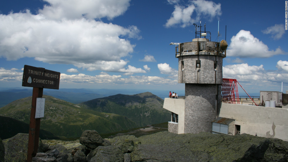 Recounting a 1642 expedition, Plymouth Colony leader John Winthrop describes four rivers originating at the peak of Mount Washington (trail hikers walk past the observatory, shown here) similar to the Bible's account of the rivers of Eden.