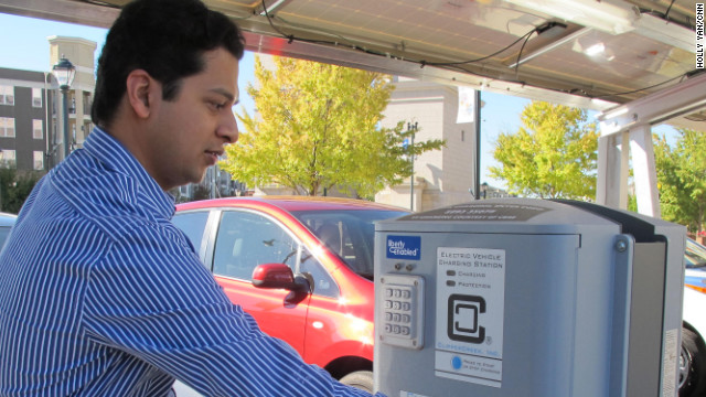 Aashish Mehta lives in an apartment and would have no way to fuel up without Atlantic Station's public car chargers.