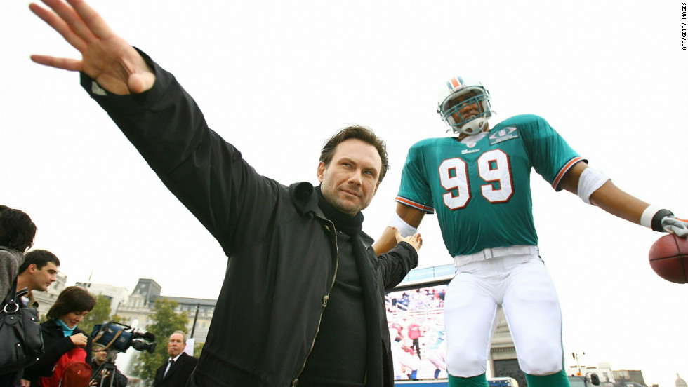 Movie actor Christian Slater was enlisted to help promote the first regular season clash in London back in 2007, when the New York Giants took on the Miami Dolphins.