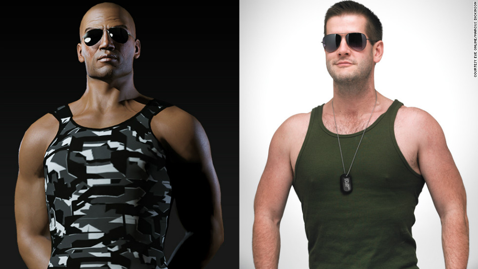 "Marcus Dickinson, right, has dropped 45 pounds and toned up to become more like his online persona, Roc Wieler from ""<a href=""http://www.eveonline.com/"" target=""_blank"">EVE Online</a>."""