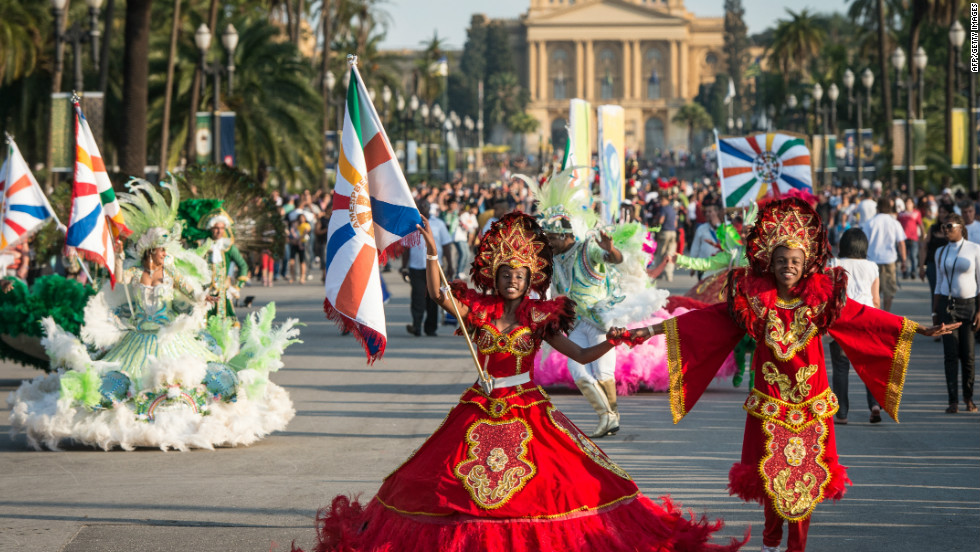 Samba dancers perform during a parade celebrating Brazil's independence from Portugal 190 years ago, at Independence park in Sao Paulo. Samba was developed in Brazil by the descendants of African slaves and draws on West African influences.