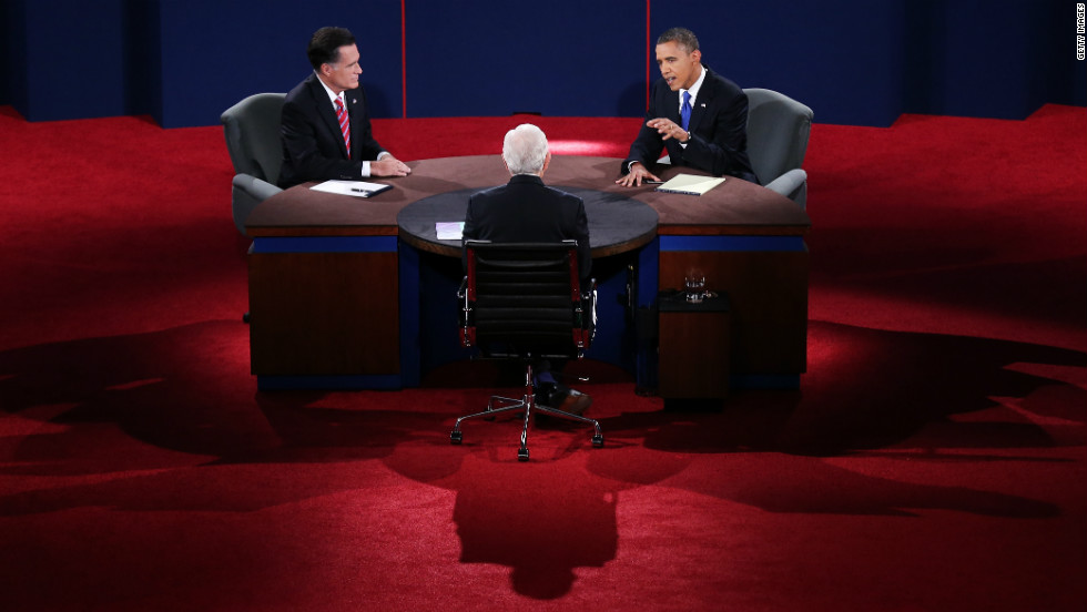 Romney and Obama debate on stage. The final face-to-face showdown took place 15 days before the election.