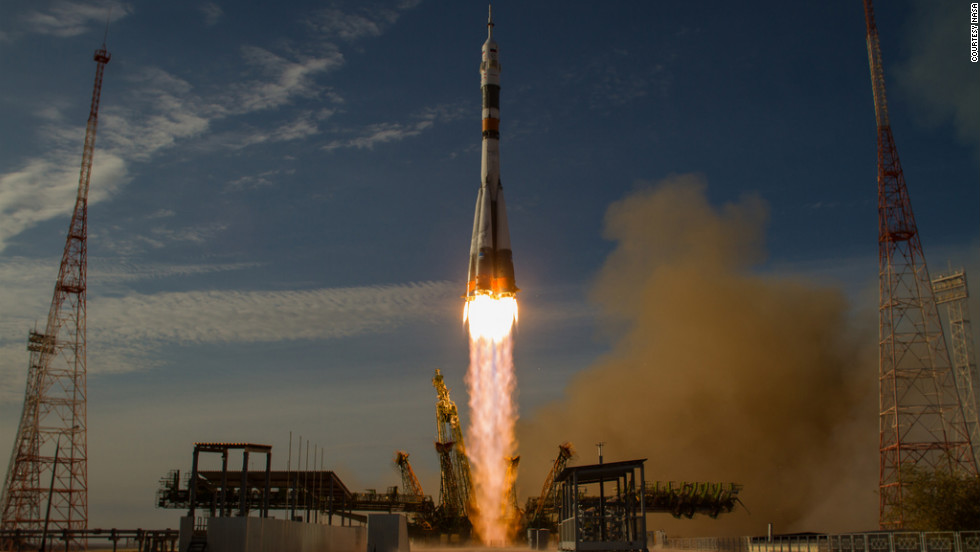 A Soyuz rocket took off on Tuesday, October 23, from Baikonur, Kazakhstan, carrying three new crew members to join co-workers on the International Space Station. Evgeny Tarelkin and Soyuz Cmdr. Oleg Novitskiy from Russia's space program and Kevin Ford from NASA will be on a five-month mission on the station.