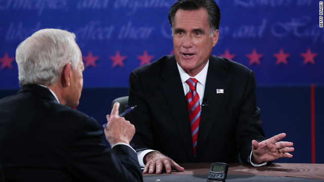 BOCA RATON, FL - OCTOBER 22:  Republican presidential candidate Mitt Romney (R) speaks during a debate with U.S. President Barack Obama as moderator Bob Schieffer of CBS (L) looks on at the Keith C. and Elaine Johnson Wold Performing Arts Center at Lynn University on October 22, 2012 in Boca Raton, Florida. The focus for the final presidential debate before Election Day on November 6 is foreign policy.  (Photo by Marc Serota/Getty Images)