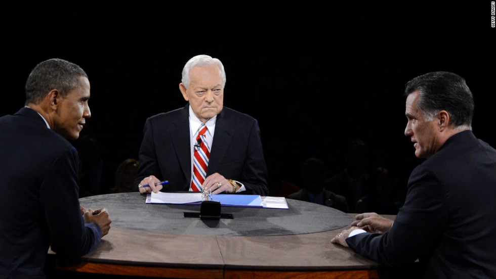 Obama and Romney face off while Schieffer looks on.