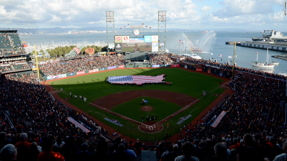 A general view during the national anthem before Game 7.