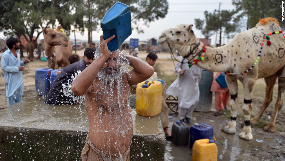A Pakistani livestock trader takes a bath beside camels at one of the main animal markets in Islamabad on Friday.
