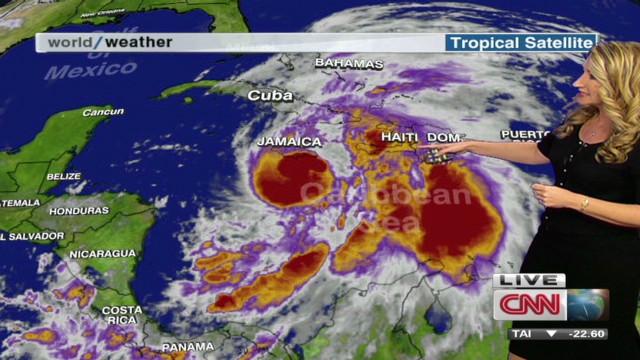 Hurricane Sandy hits Jamaica