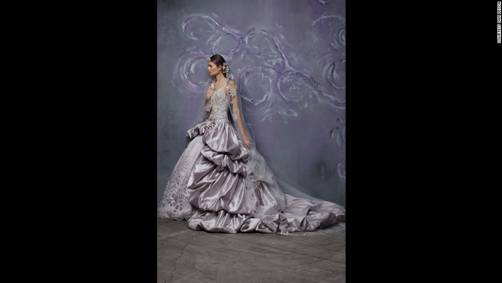 Rani Totman, designer and president of St. Pucchi, often uses colors -- like the lilac seen here -- in her bridal gowns.