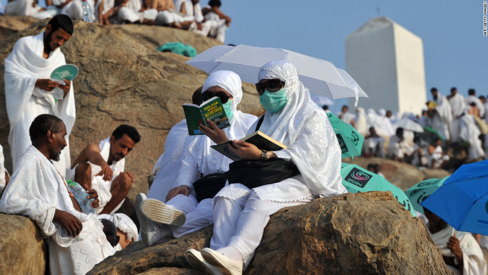Muslim pilgrims pray on Mount Arafat near the holy city of Mecca, Saudi Arabia, ahead of the holiday of Eid al-Adha on Thursday, October 25.