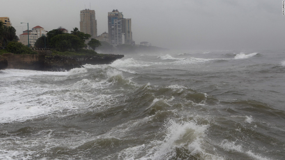 Waves hit the coast in Santo Domingo on Wednesday.