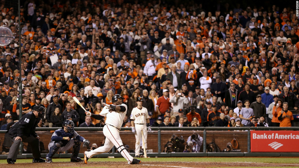 Pablo Sandoval, who hit three home runs, hits a single to center field off Al Alburquerque of the Detroit Tigers in the seventh inning during Game 1 of the Major League Baseball World Series at AT&T Park on October 24, 2012, in San Francisco, California.
