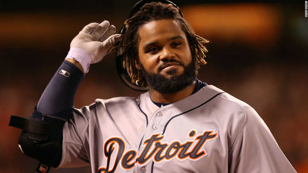 Prince Fielder of the Detroit Tigers walks back to the dugout after he lined out in the sixth inning.