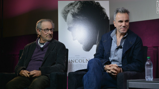 Steven Spielberg and Daniel Day-Lewis participate in a live conversation after a 'Lincoln' screening in New York on October 10.