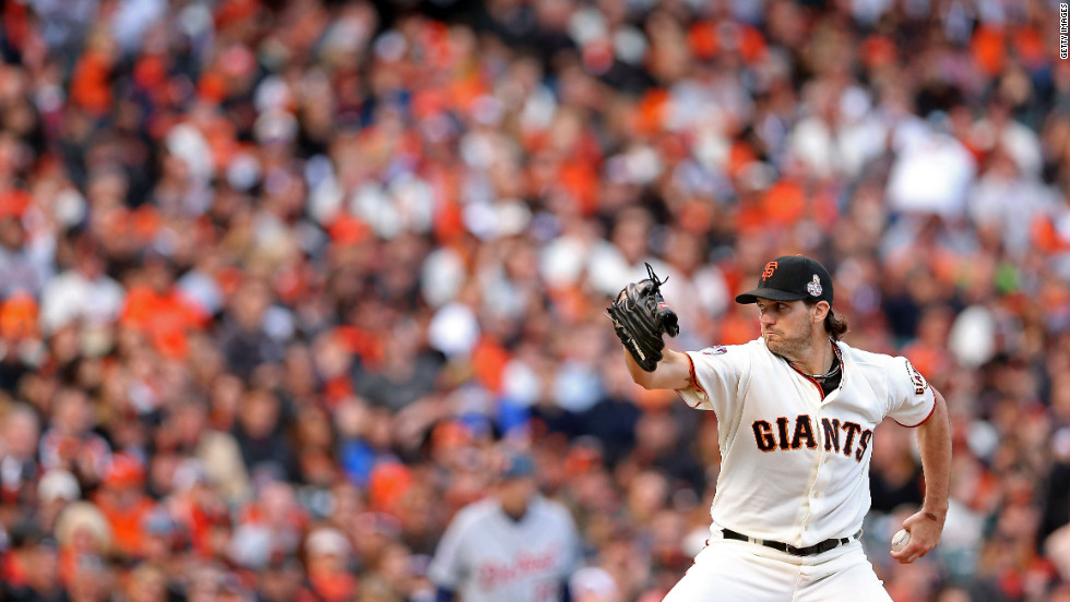 Barry Zito of the San Francisco Giants throws a pitch in the first inning against the Detroit Tigers.