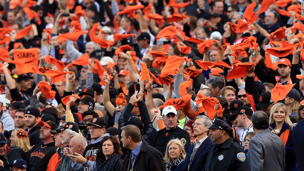 Fans Cheer during Game 1 between the San Francisco Giants and the Detroit Tigers.