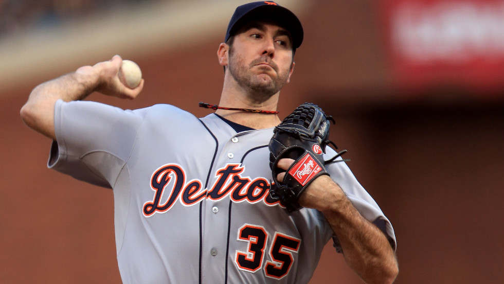 Starting pitcher Justin Verlander of the Detroit Tigers throws a pitch against the San Francisco Giants in the first inning.