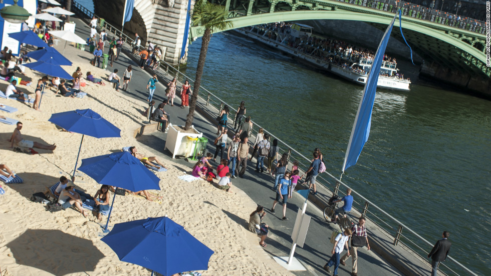 During the summer, the city makes the most of the banks of the Seine, opening up free Paris plages complete with trucked-in sand.