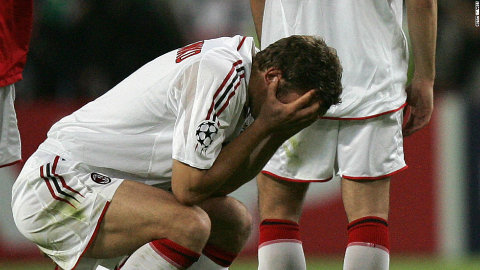 """But even Brazil's collapse cannot match AC Milan's """"achievement"""" in the 2005 European Champions League final against Liverpool. Carlo Ancelotti's Milan blew their English opponents out of the water in the first half, racing into a 3-0 lead. But, in six incredible second-half minutes, Rafeal Benitez's Liverpool launched one of the greatest comebacks in the history of sport, scoring three times to level the match. Liverpool held on grimly to force a penalty shootout, with Jerzy Dudek's save from Andriy Shevchenko handing Liverpool a most unlikely success."""