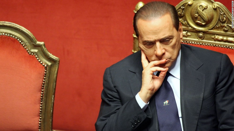 Berlusconi listens during a debate at the Senate on December 13, 2010, in Rome, Italy.