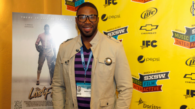 "Filmmaker Matthew Cherry stops on the red carpet at a SXSW 2012 screening of his first feature film, ""The Last Fall."""