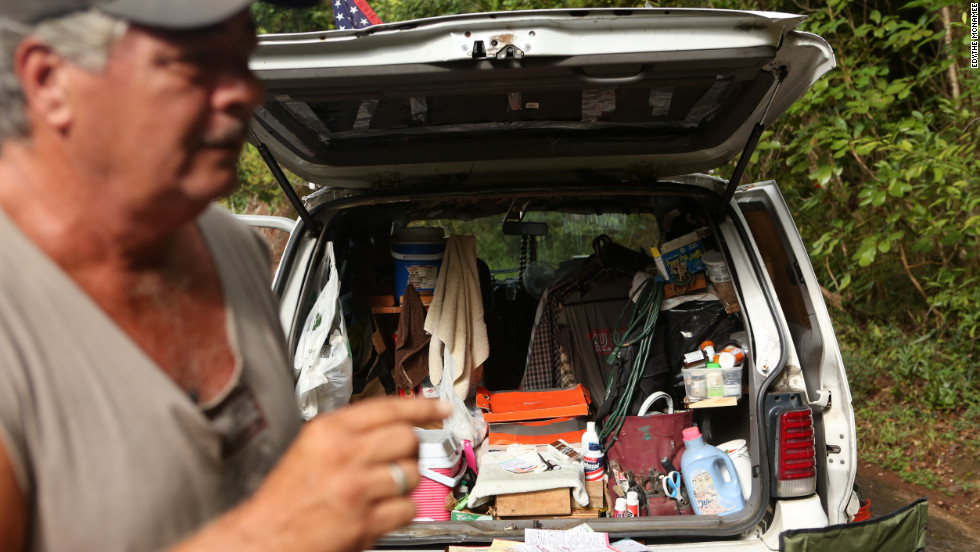 Crowley's van serves as his home and campaign headquarters. He fell into homelessness because of the recession, he said. He works as a handyman.
