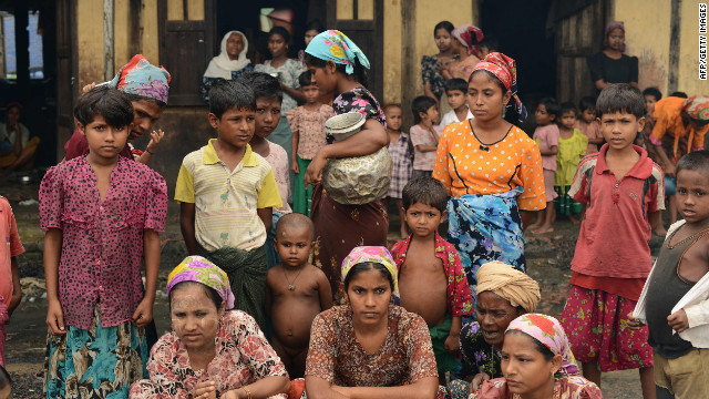 Displaced Muslim Rohingya in the courtyard of a school near Sittwe, capital of Myanmar's western Rakhine state on Oct. 11.