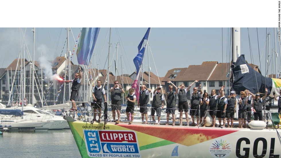 Crew aboard winning boat Gold Coast arrive in Southampton. Crew member and former retail assistant Lisa Blair now teaches sailing professionally and hopes to circumnavigate the world solo.