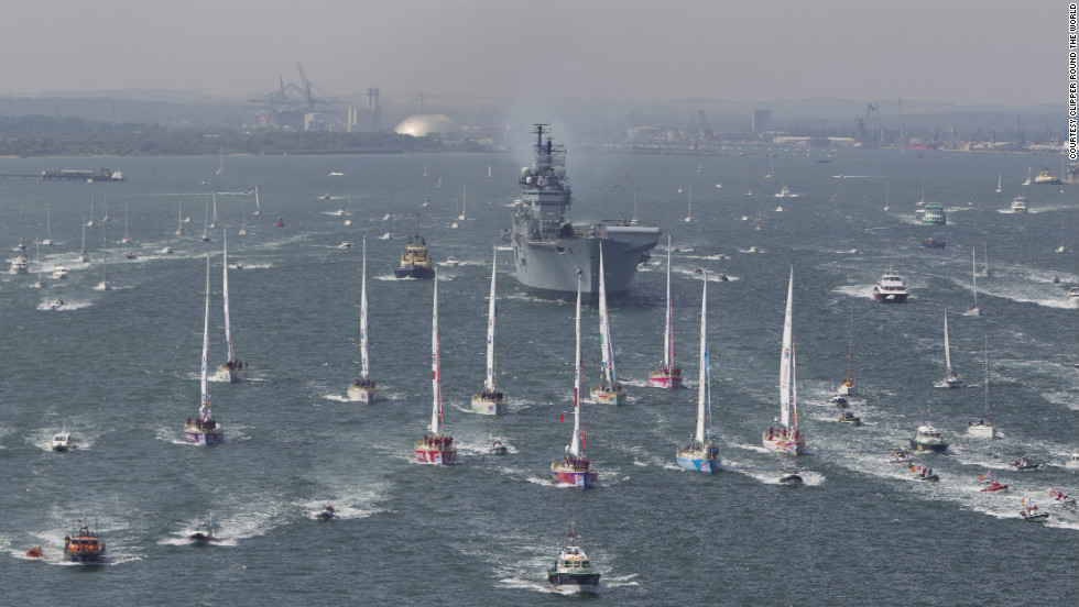 HMS Illustrious accompanies the fleet of 10 boats out of Southampton at the start of their year-long Clipper Round the World Yacht Race. The 70 foot yachts traveled 64,500km across the globe, visiting 15 ports on six continents.