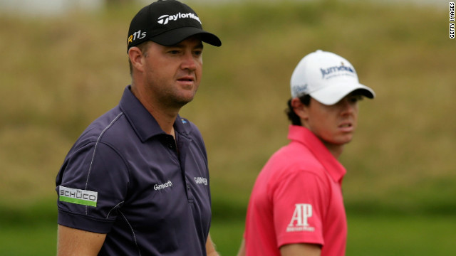Peter Hanson, left, held a one-shot over playing partner Rory McIlroy after the third round at Lake Malaren Golf Club on Saturday.