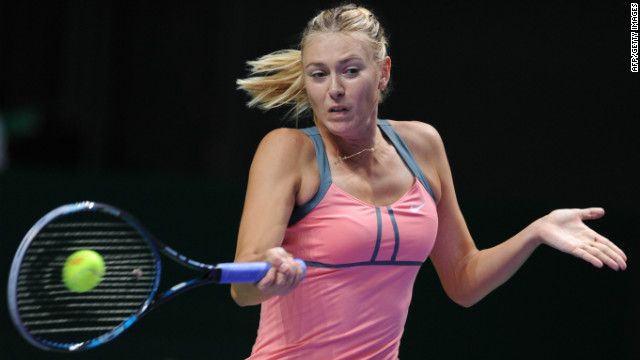 Russian tennis star Maria Sharapova in action during Saturday's semifinal win over world No. 1 Victoria Azarenka.