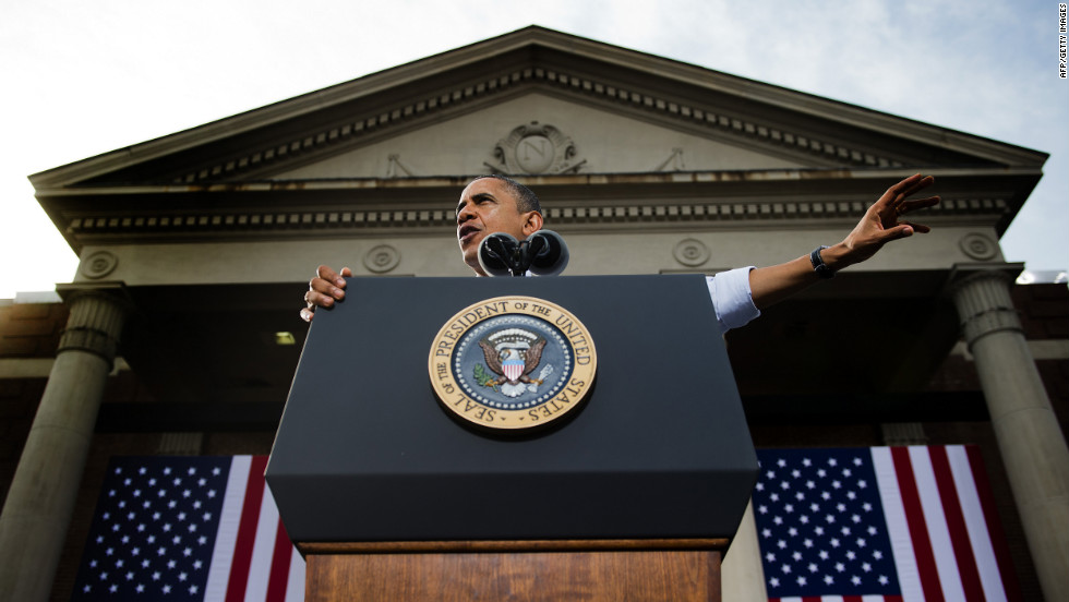 Obama speaks at a campaign rally in Nashua, New Hampshire, on Saturday.