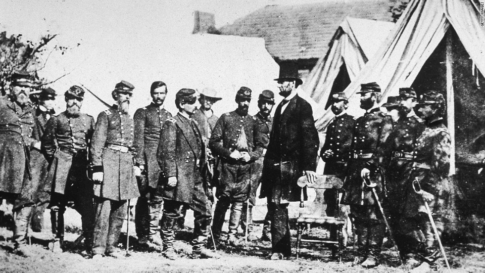 Abraham Lincoln meets with Gen. George McClellan, sixth from left, and his Union troops at Sharpsburg, Maryland, following the Battle of Antietam on October 3, 1862.