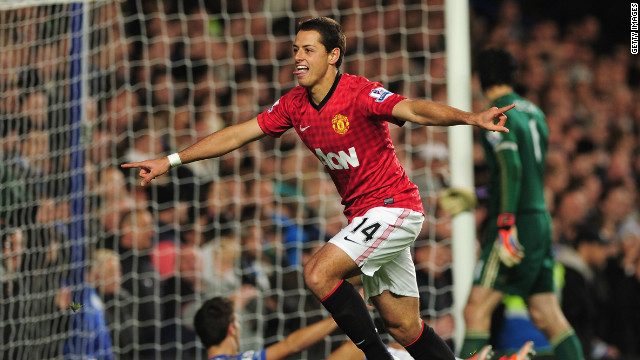 Javier Hernandez  celebrates scoring the winner for Manchester United against Chelsea at Stamford Bridge.