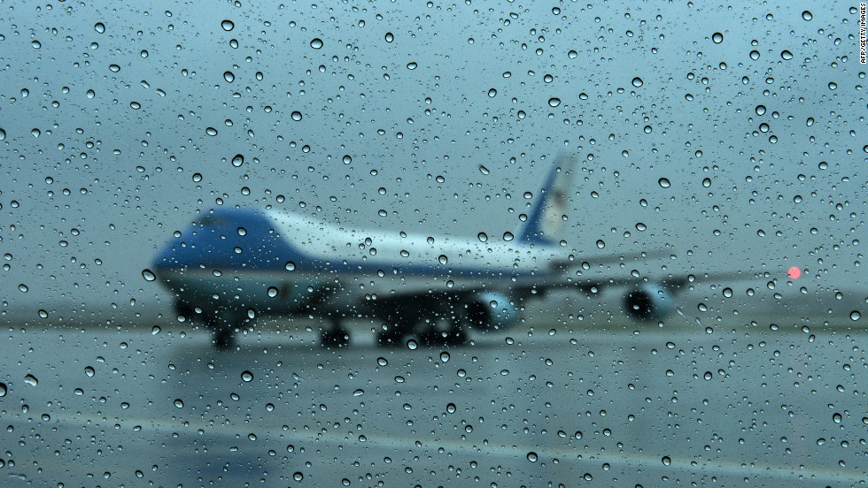 Air Force One arrives at Andrews Air Force Base in Maryland. President Barack Obama canceled his appearance at a campaign rally in Orlando, Florida, and returned to Washington to monitor the response to Hurricane Sandy.