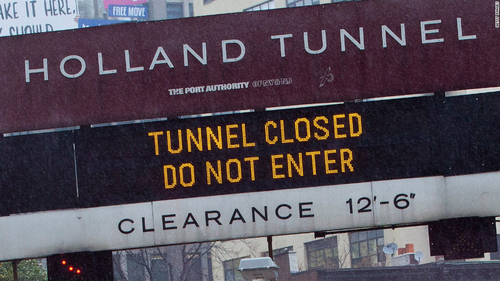 The Holland Tunnel in New York is closed due to Hurricane Sandy on Monday.