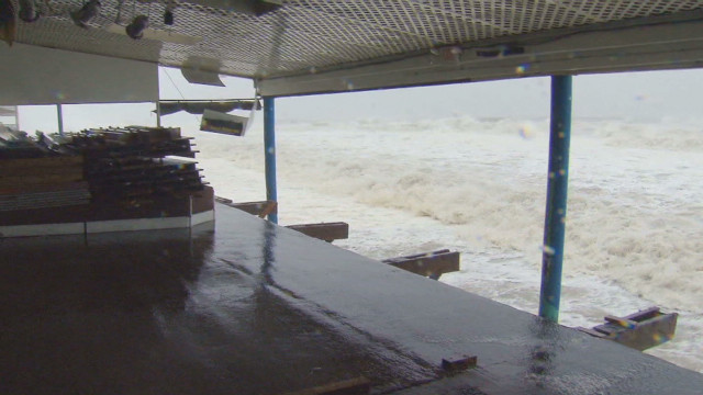 Waves lapping into New Jersey surf club