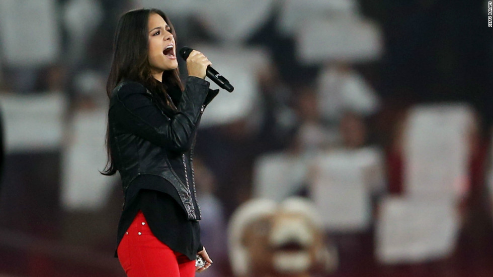 """Former American Idol contestant Pia Toscano sang the U.S. national anthem, while Welsh singer Katherine Jenkins performed """"God Save The Queen."""""""