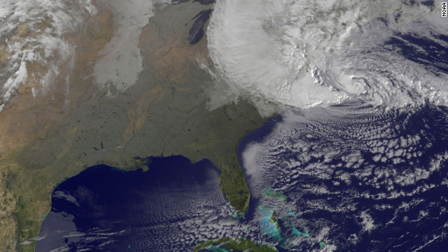 A satellite image of Hurricane Sandyat 8:25 a.m. ET