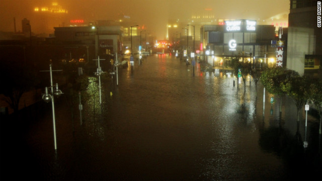 Water washes over downtown Atlantic City