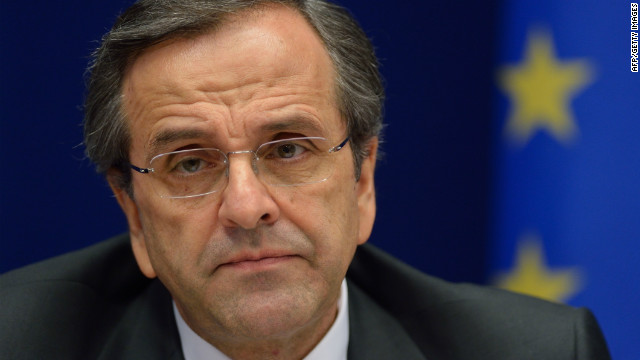 The Greek prime minister Antonis Samaras pictured on October 19, 2012.