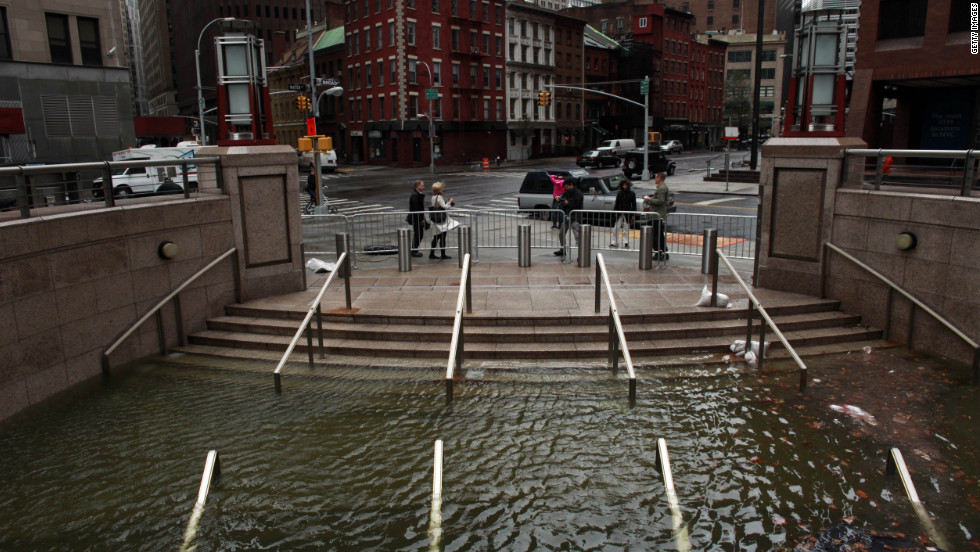 Water floods the Plaza Shops in New York, in the wake of Superstorm Sandy, on Tuesday, October 30.