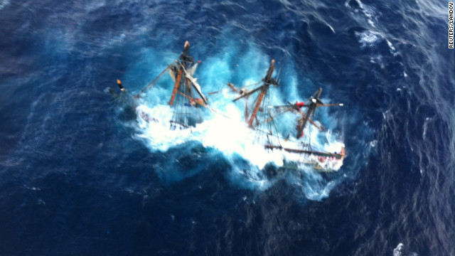 The HMS Bounty, a 180-foot sailboat, is shown submerged in the Atlantic Ocean approximately 90 miles southeast of Hatteras, N.C., on Monday.