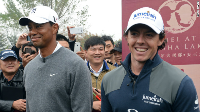 Tiger Woods and Rory McIlroy contested a one-on-one match play duel in China on Monday.