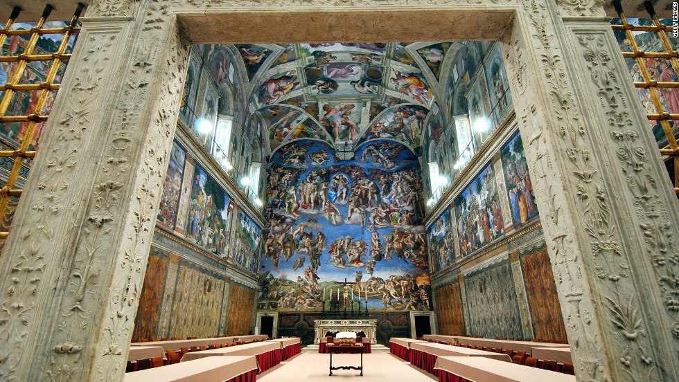"In Vatican City, the Sistine Chapel is known for housing the papal conclave, in which the College of Cardinals gathers <a href=""http://www.cnn.com/SPECIALS/world/pope/index.html"">to elect the next pope</a>. Its ceiling is one of the most recognized pieces of art in the world."