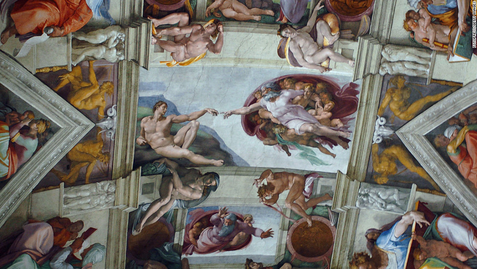 "One of the most iconic parts of the ceiling is the ""Creation of Adam."" The ceiling features nine main panels with stories from the Old Testament's Genesis. It was completed by Michelangelo Buonarroti in 1512."
