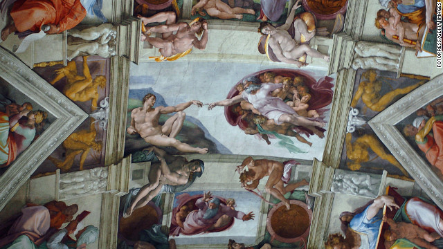 Part of the artwork of Michelangelo that adorns the ceiling of the Sistine Chapel at the Vatican, Italy.