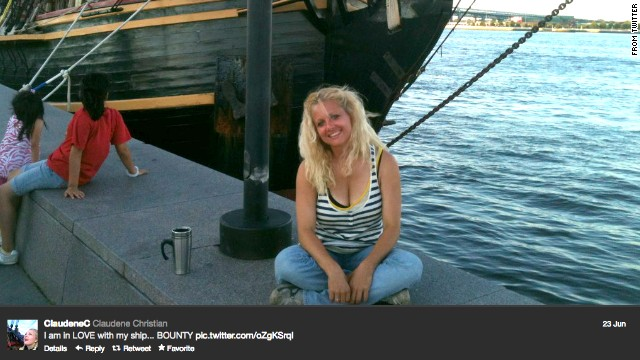 Claudene Christian tweeted this photo of herself and the Bounty four months before her death.